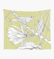 Bird on Orchid Cactus Wall Tapestry