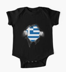Greece Flag. Proud Greek Short Sleeve Baby One-Piece