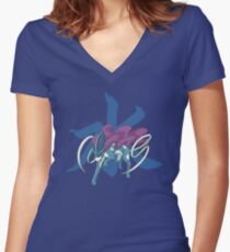 Suicune With Water Kanji Women's Fitted V-Neck T-Shirt