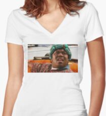 BIG WORM Women's Fitted V-Neck T-Shirt