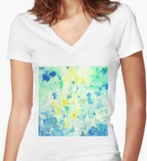 Watercolor abstract landscape Painting Women's Fitted V-Neck T-Shirt
