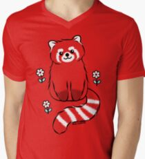 Red Panda with White Flowers Men's V-Neck T-Shirt