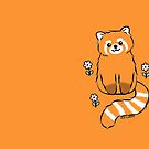 Red Panda with White Flowers by zoel