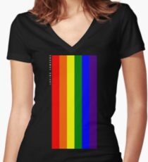 Rainbow Loving Someone Women's Fitted V-Neck T-Shirt