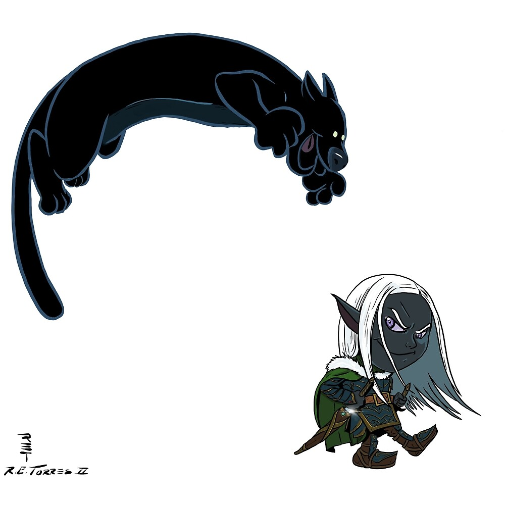 Drizzt and Guenhwyvar by Nynrafa