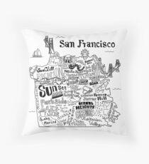 Illustrierte Karte von San Francisco Dekokissen