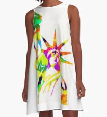 Statue Of Liberty Colorful Abstract A-Line Dress