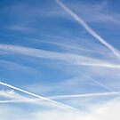 Blue Sky Contrail Clouds Background by Sue Robinson