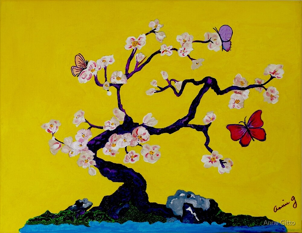 Oriental Cherry Blossom Tree with Butterflies by the Water by Anne Gitto