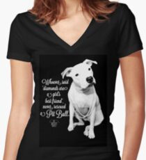 Girls Best Friend Rescued Pit Bull Women's Fitted V-Neck T-Shirt