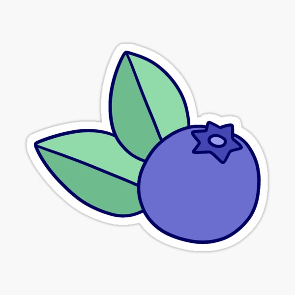Blueberry with Two Leaves Sticker