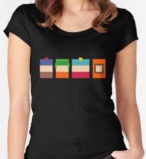 South Park 8-Bit Pixels Design Women's Fitted Scoop T-Shirt