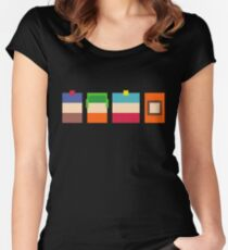 South Park Boys Pixel Art Women's Fitted Scoop T-Shirt