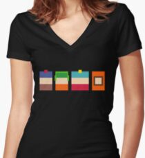 South Park Boys Pixel Art Women's Fitted V-Neck T-Shirt