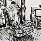Sitting around the TV in the Loungeroom Drawing by Rich McLean
