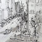 St Pauls Cathedral, Melbourne with Tram (Rapid Sketch) by Rich McLean