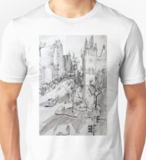St Pauls Cathedral, Melbourne with Tram (Rapid Sketch) Unisex T-Shirt