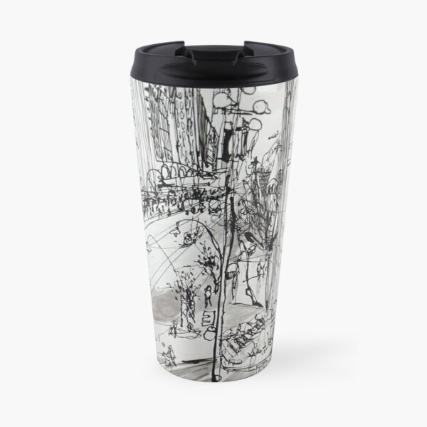 St Pauls Cathedral, Melbourne with Tram (Rapid Sketch) Travel Mug