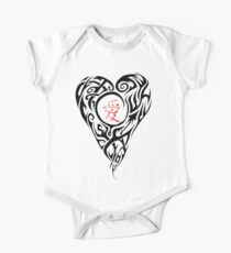 Black Tribal Heart with red love Kanji One Piece - Short Sleeve
