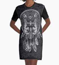 indian native Owl Dream catcher Graphic T-Shirt Dress