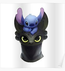 Stitch on Toothless Poster