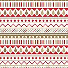 (Pattern) Geo Stripe- Neutrals and Red by Kristina S