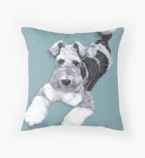 Foxy Fox Terrier ~ Black and white Throw Pillow