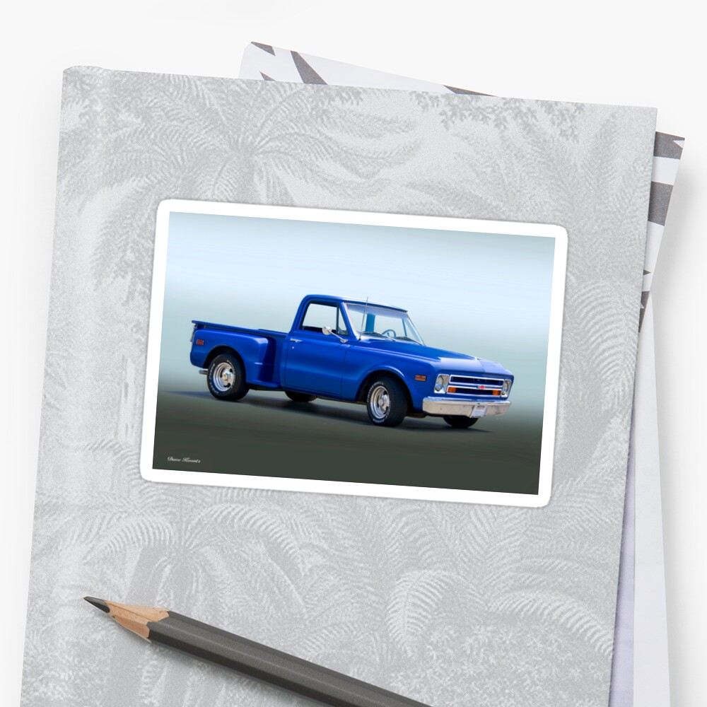 1968 Chevrolet C10 Stepside Pickup Truck Stickers By Davekoontz Chevy