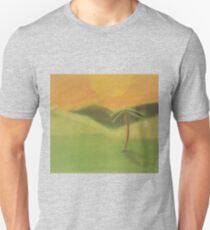 Grassy Sunset Landscape - Palm Tree and Hills Unisex T-Shirt
