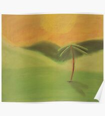Grassy Sunset Landscape - Palm Tree and Hills Poster