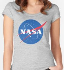 NASA Logo - Meatball - Vintage Distressed Women's Fitted Scoop T-Shirt