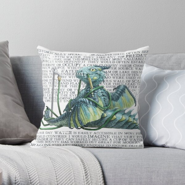 Fun with a hosepipe Dragon With text  Throw Pillow