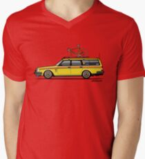 Yellow Volvo 245 Wagon With Roof Rack and Vintage Bicycle T-Shirt