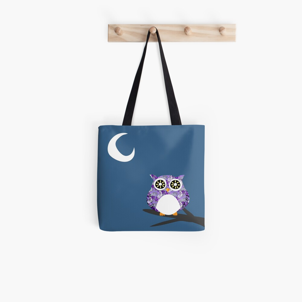 Purple Owl Chilling at Night on A Tree Branch Tote Bag