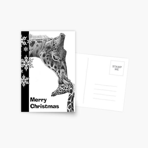 Giraffe and Calf Christmas Card Postcard