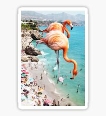 Flamingos on the Beach #redbubble #decor Sticker
