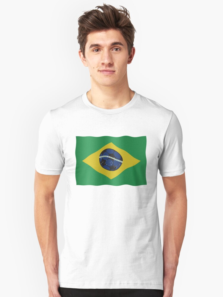 Brazilian flag and football Unisex T-Shirt Front