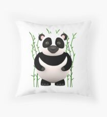 Cartoon Panda among some Bamboos Throw Pillow