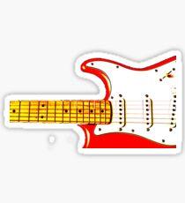 Red Guitar Sticker