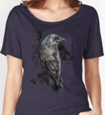crow gothic bird raven realism drawing sketch tattoo Women's Relaxed Fit T-Shirt