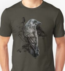 crow gothic bird raven realism drawing sketch tattoo T-Shirt