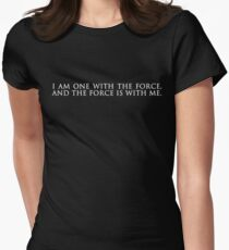 """""""i am one with the force, and the force is with me."""" rogue one: a star wars story, minimalist typography (black) Women's Fitted T-Shirt"""