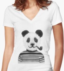 Cool Hipster Panda Bear Smoking Pipe  Women's Fitted V-Neck T-Shirt