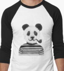 Cool Hipster Panda Bear Smoking Pipe  Men's Baseball ¾ T-Shirt