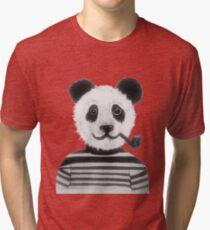 Cool Hipster Panda Bear Smoking Pipe  Tri-blend T-Shirt