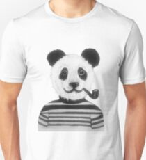 Cool Hipster Panda Bear Smoking Pipe  Unisex T-Shirt