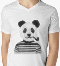 Cool Hipster Panda Bear Smoking Pipe  Men's V-Neck T-Shirt