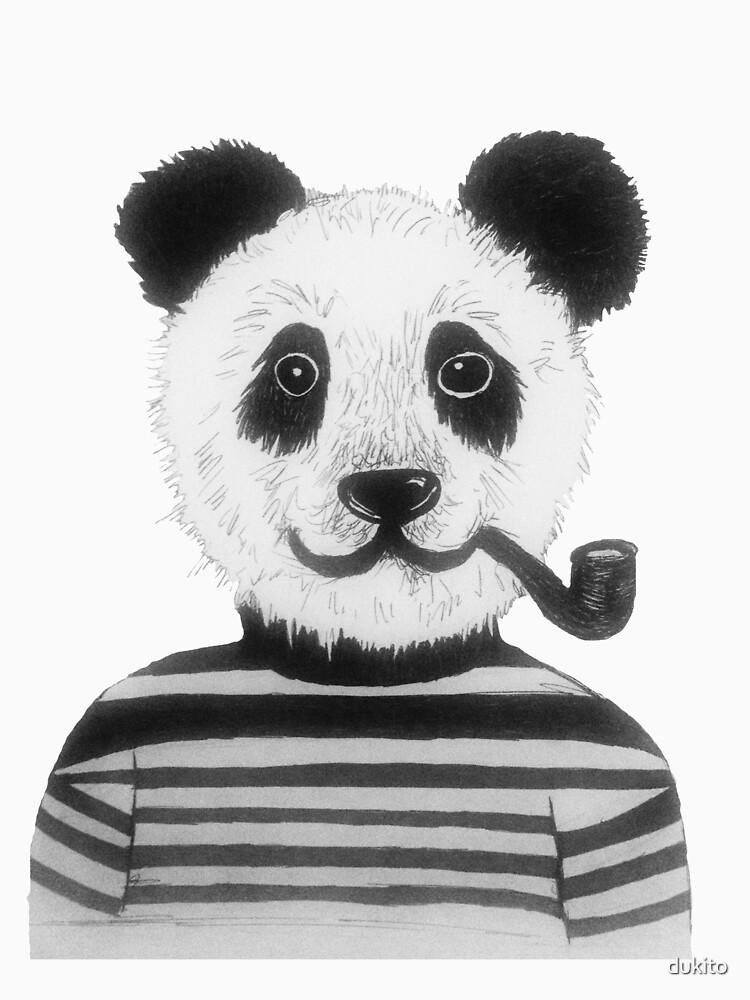 Cool Hipster Panda Bear Smoking Pipe  by dukito