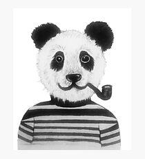 Cool Hipster Panda Bear Smoking Pipe  Photographic Print