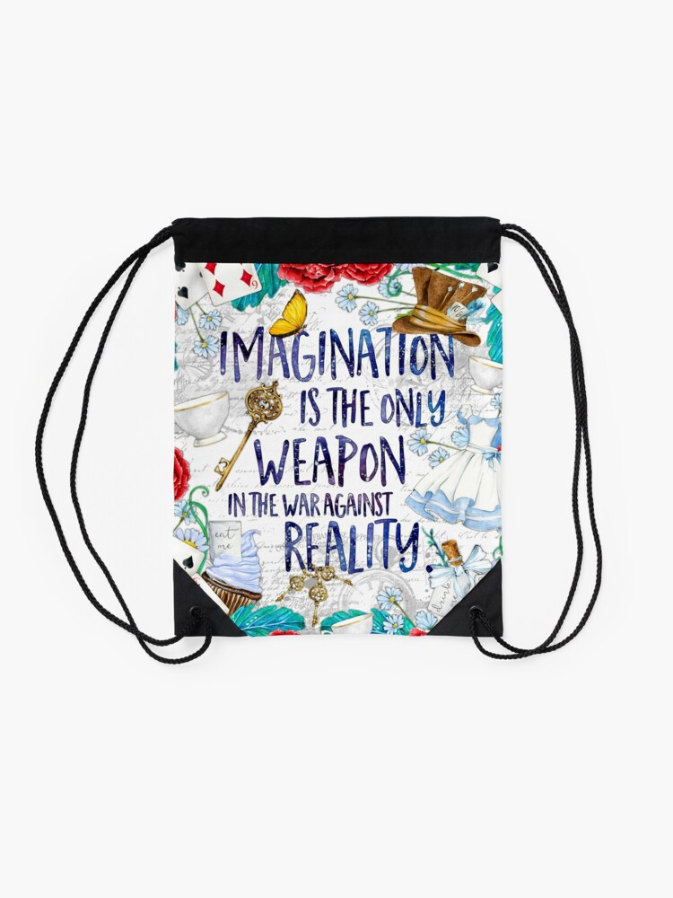 Alternate view of Alice in Wonderland - Imagination Drawstring Bag